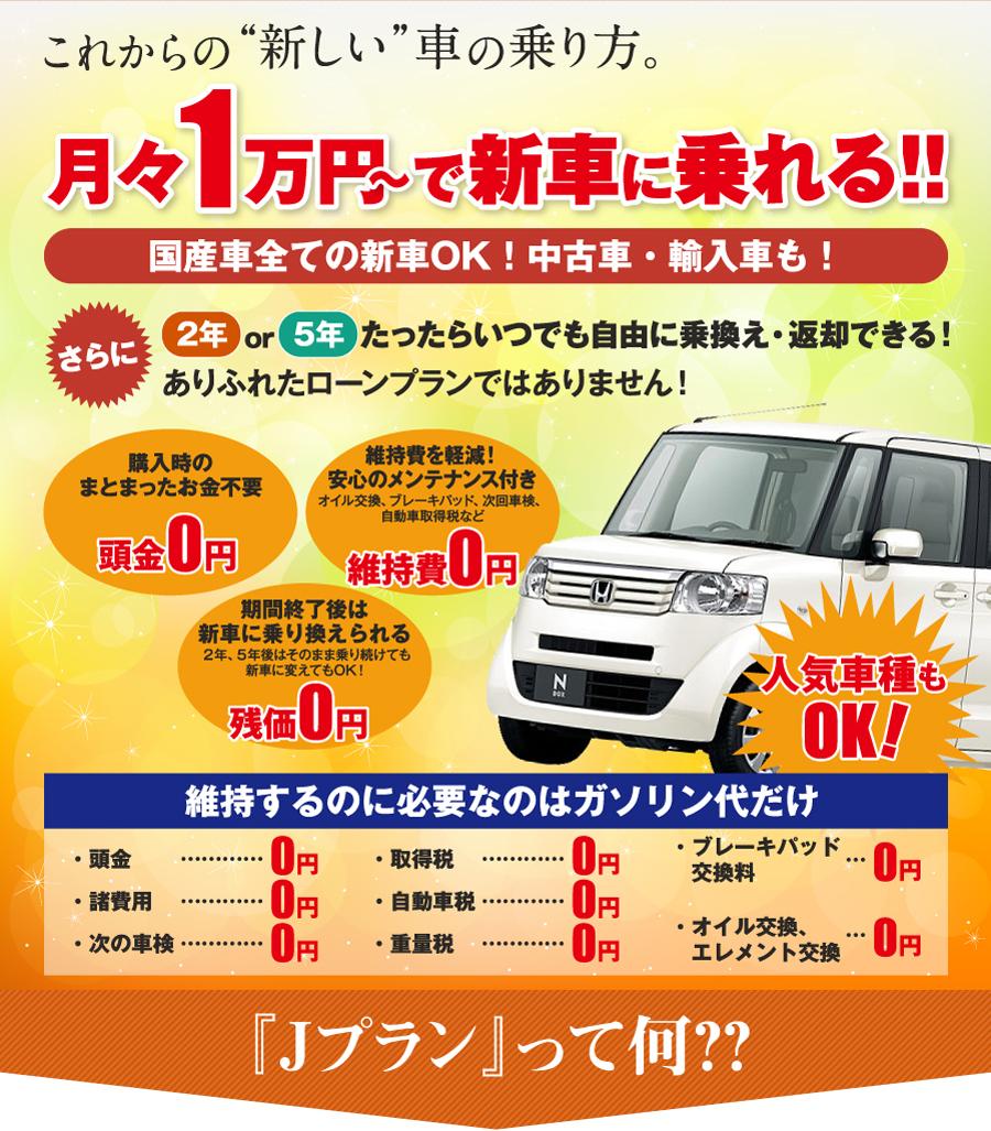 これからの新しい車の乗り方 月々1万円で新車に乗れる